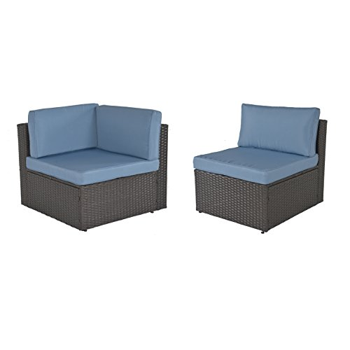 GOJOOASIS Outdoor Patio PE Wicker Rattan Sofa Sectional Furniture Conversation Set with Cushion and Pillow, Steel Frame, Black (Corner+Armless Sofa) -