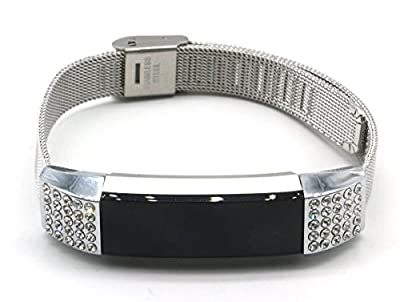 Women's fashion Stainless Steel Replacement Accessory Mesh Band/ Metal Wristband Bracelet Strap with Siliver Bling Crystal Rhinestones for Fitbit Alta Fitness Tracker, Small