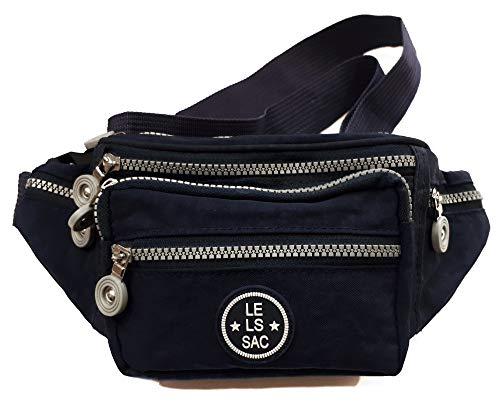 Le Sac Fanny Pack Waist Packs Money Belt Navy Blue 6 Zippered Pockets