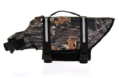 - Black Camo Dog Life Jacket, Camouflage Dog Life Vest with Adjustable Buckles, Dog Safety Life Coat for Swimming, Boating, Hunting (L)