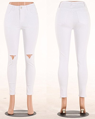 Skinny Donna Come Immagine Leggings Vita Fit Alta A Stirata Denim Jeans Slim Pantaloni Strappato UxqwTUZ