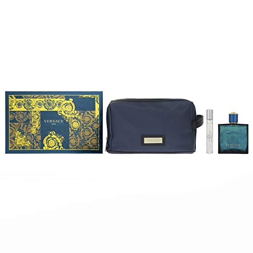 - Versace Eros For Men 3 Pieces Hardbox Set (3.4 Ounce Eau De Toilette Spray+ 0.3 Ounce Eau De Toilette Spray +Versace Blue Trousse)