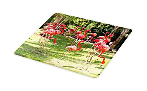 Lunarable Flamingo Cutting Board, Flamingo Bird Model in the Garden in Vibrant Colors Under Sun Rays Shadows, Decorative Tempered Glass Cutting and Serving Board, Large Size, Pink and Green