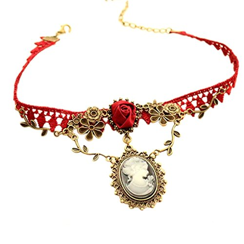 Botrong® New Stylish Cameo Red Rose Lace Fashion Necklace Pendant Jewelry Women Gift