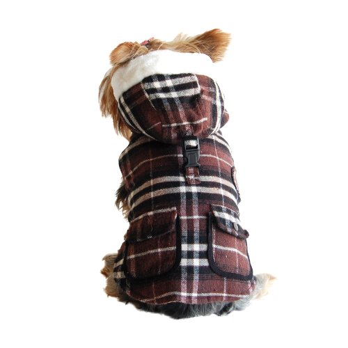 Anima Brown Plaid Stuff Parka, Twill Overcoating, Snap Button Closure, Large
