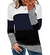 Dokotoo Women's Long Sleeve Crew Neck Striped Color Block Casual Knitted Pullover Sweater Tops