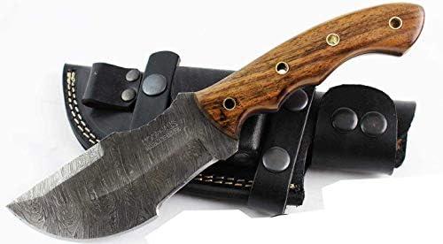 Moorhaus Handmade Custom Firestorm Damascus Walnut Wood Tracker Knife