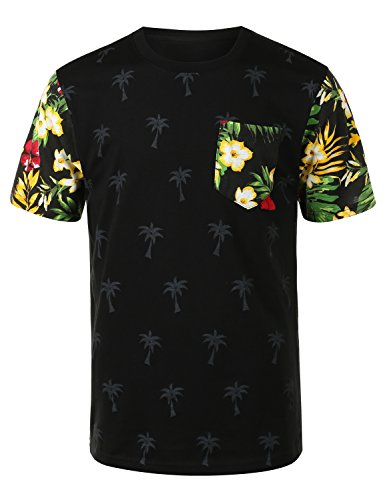 URBANCREWS Mens Hipster Hip Hop Tropical Floral Crewneck T-shirt BLACK LARGE