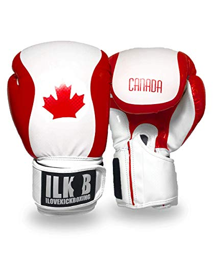 BROOKLYN VERTICAL 16oz. Kick Boxing Glove Canada Flag Red White Pattern   Training Bag Gloves Strong Quality