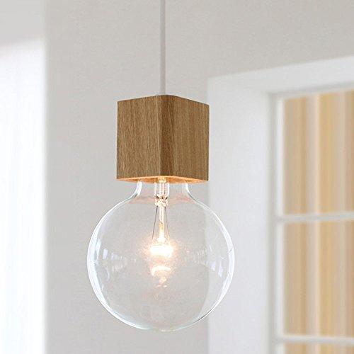 - BOKT 1-Light Minimalist Ceiling Pendant Lamp Enjoy DIY Multi-Hanging Lantern kit Natural Wooden Lamp Holder E26/E27 Island