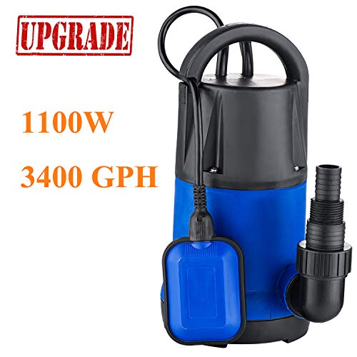 1 Hp Sump Pumps - Hurbo Sump Pump 1 HP 3400GPH 1100W Automatic Submersible Dirty Clean Water Pump for Clear Water
