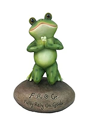 DWK Inspirational Cute Praying Frog On Rock Statue Novelty Collectible Frog Figurine