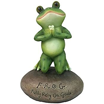 Inspirational Cute Praying Frog On Rock Statue By DWK   Novelty Collectible Frog Figurine