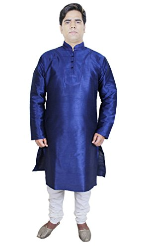 [Mens Fashion Clothing Kurta Pajama Punjabi Indian Dress Costume Blue Size M] (Pajamas Dance Costumes)