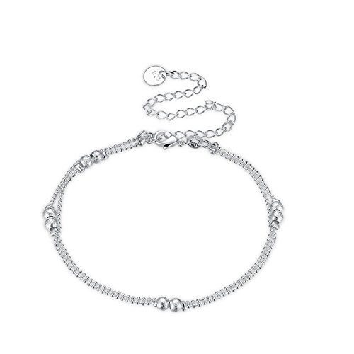 Daesar Plated Silver Anklets for Women 925 Double Layers Sand Bead Anklet Silver Chain (Sterling Rope Boot Laces)