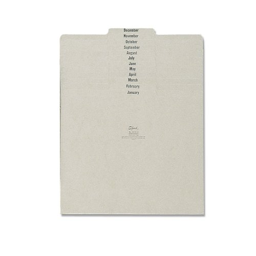 Smead 100 % Recycled Pressboard File Guides, 1/3-Cut Tab Center Position (Jan-Dec), Letter Size, Gray/Green, Set of 12 (50365) ()