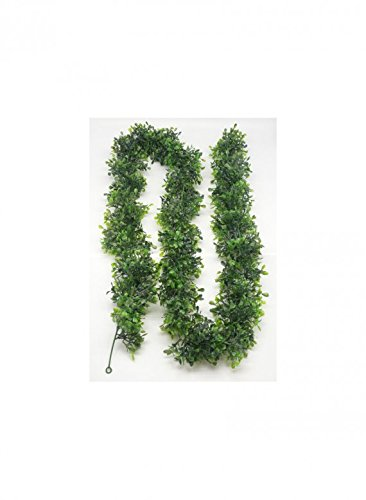 """Faux Boxwood GarlandSerene Spaces Living 6' Artificial Garland – Varying Green Shades of Leaf in Faux Boxwood – Garland with 3"""" (Artificial Boxwood Garland)"""