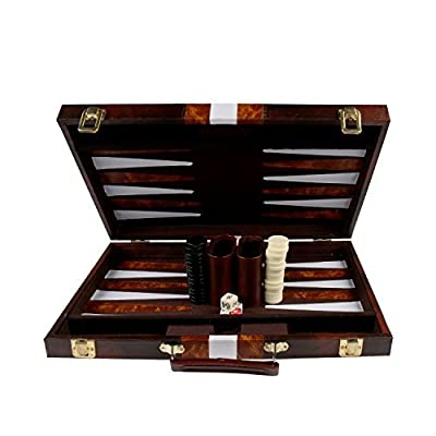 15'' Backgammon Set with Travel Leatherette Carrying Case for Kids and Adults by KAILE