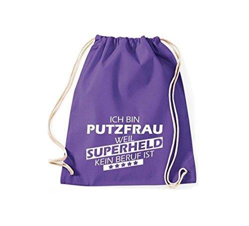 Shirtstown Bolsa de gimnasio Estoy Señora de la limpieza, weil Superheld sin Trabajo ist - tuerkis, 37 cm x 46 cm Púrpura