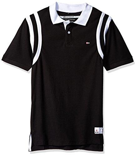 Shirt Sleeve Pique Sport (Southpole Men's Short Sleeve Stripe Polo Shirt, Black, Medium)