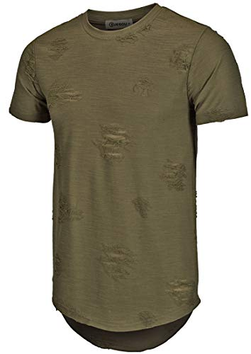 KLIEGOU Mens Hipster Hip Hop Ripped Round Hemline Hole T Shirt (1705)(Medium Army Green) Adult Army Green T-shirt