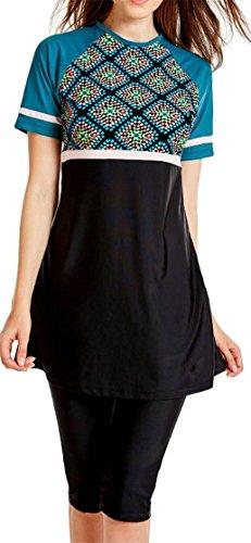 Etecredpow Women's Muslim Short Sleeve Floral Print Swimwear Summer Tankini Black XX-L