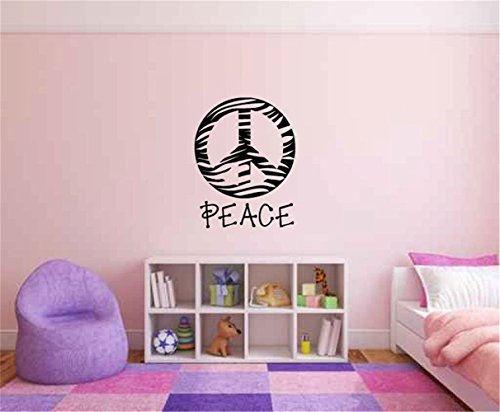 vinyl decal quote Art wall sticker mirror decal Zebra Print Peace Sign Symbol Silhouette
