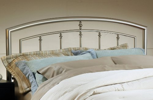 Hillsdale Furniture 1685HFQR Claudia Headboard with Rails, Full/Queen, Matte Nickel - Nickel Finish Metal Headboard