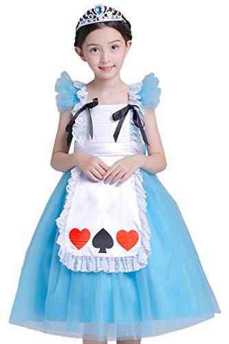 PIESWEETY Children Clothes Dresses Princess Dress Up Halloween Costume for Girls (Blue Alice, S(7-9))