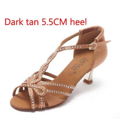 YFF Frauen Latin Tango Salsa Dance Schuhe Sneakers weichen Boden, Braun 5 cm, 8.
