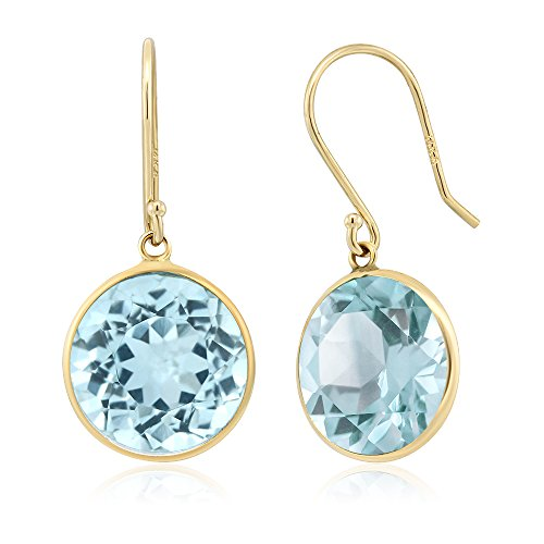 Gemstone Birthstone Round Cut Solid 14K Yellow Gold Earrings (Solid Gold Ear Care)
