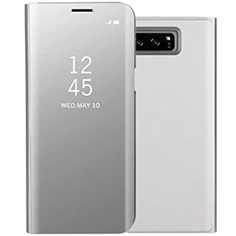 Galaxy Note8 Shell, Translucent Window View Flip Wallet Stand Cover, Shiny Plating Make Up Mirror, TAITOU Smart Sleep/Awake Hard Case For Samsung Galaxy Note 8, Scan QR Package Code, (Galaxy Note 8 Bundle)