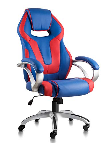 NKV High Back Gaming Chair Racing Style Office Chair Ergonomic Computer Video Game Chair Heavy Duty PC Adjustable Swivel Desk Chair Bonded Leather (Blue/red)