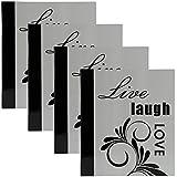 DesignOvation Live Laugh Love Expression Photo Album, Holds 440 4x6 Photos, Set of 4