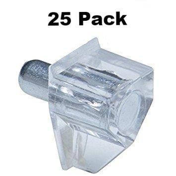 Twenty-Five (25) 5mm Clear Bracket Style Shelf Support (Clear Shelf Support)