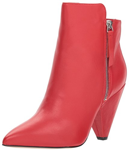 Kenneth Cole New York Women's Galway Side Zip Heeled Bootie Ankle Boot, red, 8 M US ()