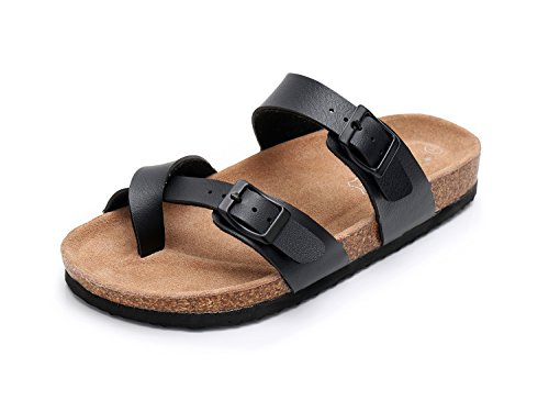 (Men Leather Sandals Arizona Slide Shoes (US 12, Black))