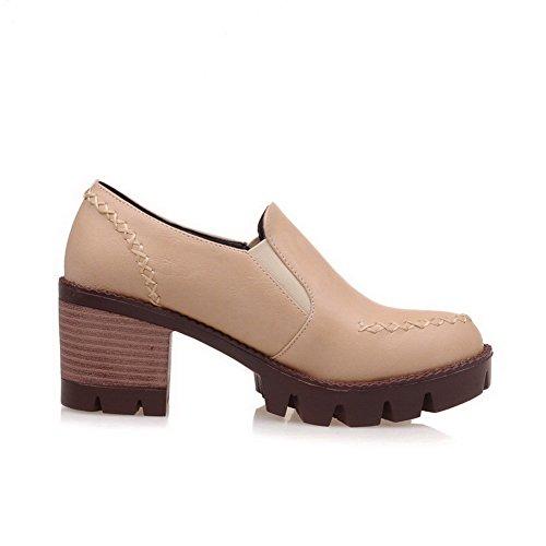 AgooLar Damen Ziehen auf PU Rund Zehe Mittler Absatz Rein Pumps Schuhe Cremefarben