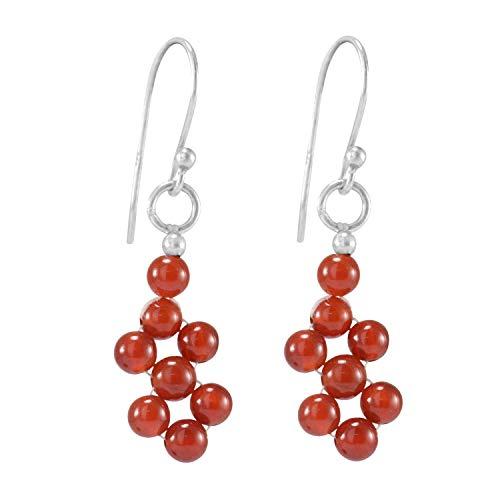 Silvesto India 925 Sterling Silver  Cabochon Carnelian  Trendy Jewelry  Handmade Jewelry Manufacturer Beaded Dangle Earring