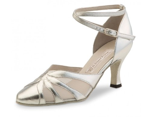 Werner Kern Women's Linda - 2 3/4'' (6.5 cm) Flare Heel, Silver Leather, 9.5 M US (6.5 UK) by Werner Kern