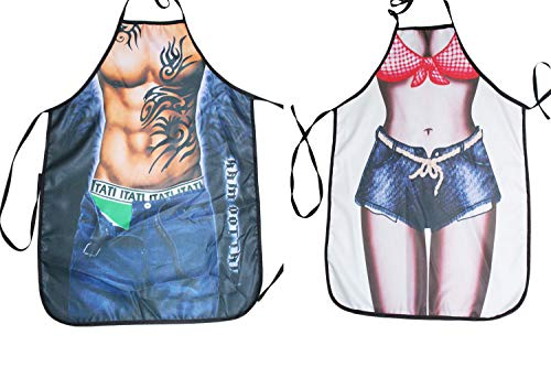Santwo Sexy Men Women Adjustable Funny Kitchen Cooking Baking Grilling Aprons 2Pack (G) -