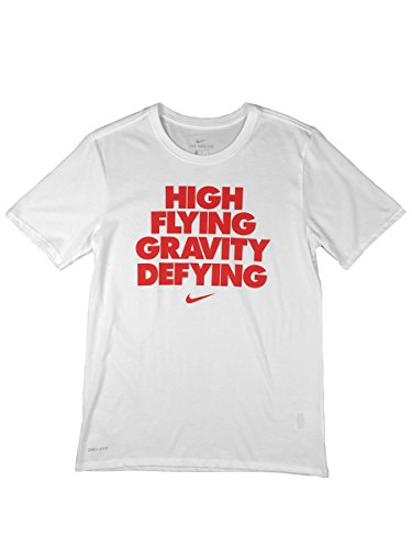 NIKE Mens Dri-Fit High Flying Gravity Defying Graphic Shirt White/Red (Large)