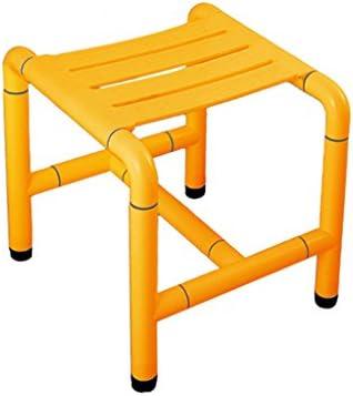Cqq Badestuhl Anti-Rutsch-Duschhocker (Edelstahl) -Applicable für ältere Menschen, Schwangere Frauen, Behinderte (Farbe : Gelb, größe : A)