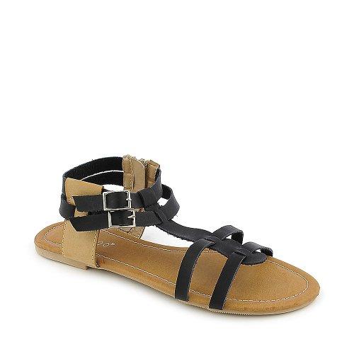 Bamboe Dames Sherin-02 Sandaal Zwart