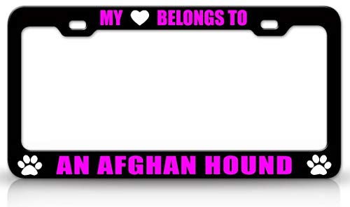Coast Guard Afghan - My Heart Belongs to an Afghan Hound Dog Pet Bl/Pn Customized Car License Plate Frame, Durable Stainless Steel License Plate Holder Auto Car Tag Frame for Standard US Vehicles