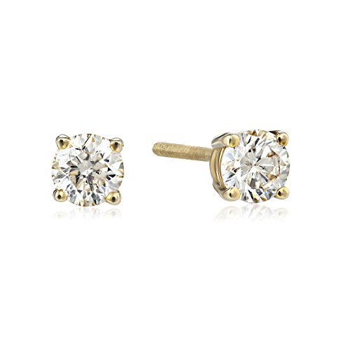 IGI Certified Gold Round Cut Diamond Earrings product image