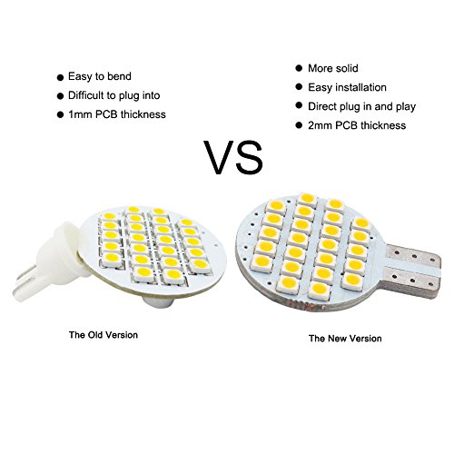 20x Grv T10 LED Light Bulb 921 194 192 C921 24-3528 SMD Super Bright Lamp DC 12V 2 Watt for Car RV Boat Ceiling Dome Interior Lights Warm White (2nd Generation) by GRV (Image #2)