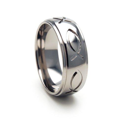 Titanium Ring, Christian JESUS FISH , Honor Christ, Free Sizing -