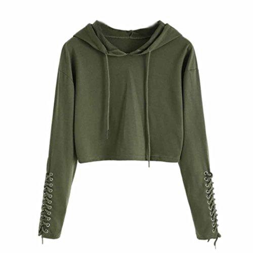 iTLOTL Women Hoodie Sweatshirt Jumper Sweater Crop Top Coat Sports Pullover Tops(US:8/CN:L, Army Green)