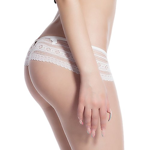 Ohyeah Women's Underwear Plus size Lace Transparent Briefs Lingerie White